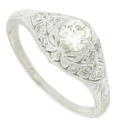 Art Deco 14K White Gold Diamond Engagement Ring. Repinned by one of WorthPoint's favorite pinners!