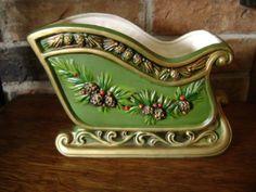 Christmas Sleigh Planter | Napco Christmas Sleigh Planter Vintage