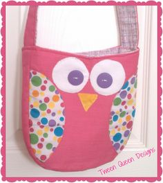 Pink Polka Dot Owl Purse