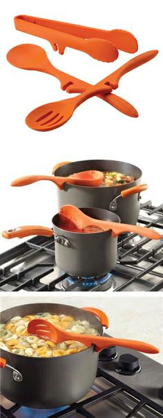 Lazy kitchen utensils set // they clip onto the edge of any pot to prevent drips and spills! Genius! #product_design