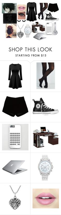 """""""L's Girlfriend"""" by morfeoandpan ❤ liked on Polyvore featuring WithChic, Andrew Gn, Converse, Beats by Dr. Dre, Hearts Attic, Lane Bryant, AeraVida and Fiebiger"""