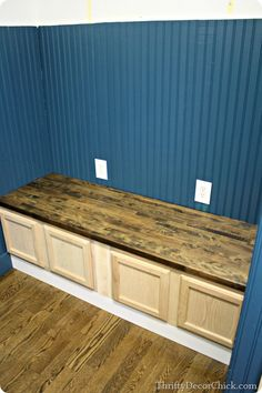 Making a mud room bench using #kitchen cabinets! #DIY