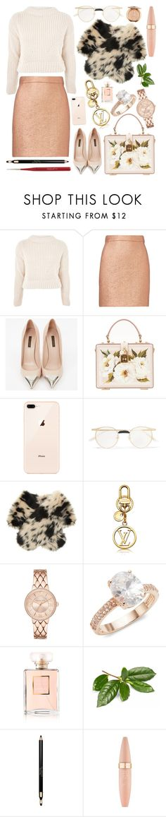 """""""Christmas shopping"""" by natallie ❤ liked on Polyvore featuring Topshop, Carven, Louis Vuitton, Dolce&Gabbana, Gucci, Shrimps, Saks Fifth Avenue, Chanel, Clarins and Maybelline"""