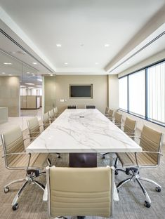 Neolith Calacatta Conference Table paired with Eames Management Chairs. Corporate Office Design, Office Space Design, Modern Office Design, Corporate Offices, Office Spaces, Office Interior Design, Office Interiors, Home Interior, Corporate Interiors