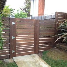 horizontal fence gate  different sized slats