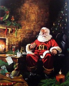 """Santa has made his delivery and is enjoying his cookies and milk Image Size 16"""" x 20"""""""