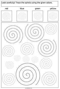 Spirals – Tracing and Recognizing – American Dyslexia Association. Great for vis… Spirals – Tracing and Recognizing – American Dyslexia Association. Great for visual spatial and pencil control skills. Sensory Rooms, Sensory Activities, Motor Activities, Visual Perception Activities, Hey Diddle Diddle, Vision Therapy, Spiral Pattern, Alphabet Worksheets, Pre Writing