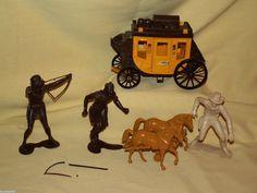 MARX INDIANS COWBOY PLASTIC STAGE COACH HORSES LOT PARTS VINTAGE WELLS FARGO #Marx