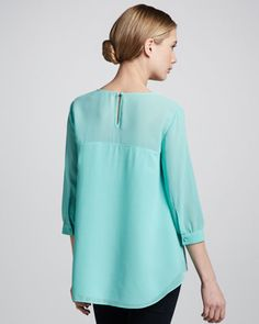 French Connection Summer Spells Arch-Hem Blouse - Neiman Marcus