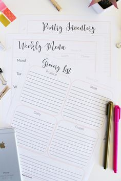 I've created a Meal Planning Binder to share with my email subscribers. With this binder you'll get a printable PDF that includes a monthly and weekly meal plan template, blank grocery list, pantry/fridge/freezer inventory sheet, and favorite recipes sheet.