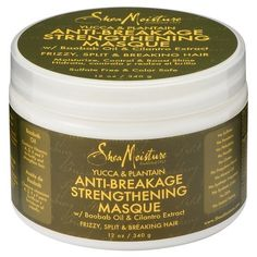Shea Moisture - Yucca & Plantain - Anti-Breakage Strengthening Masque w/ Baobab Oil & Cilantro Extract Yucca, Breaking Hair, Baobab Oil, Raw Shea Butter, Bobe, Healthy Oils, Healthy Hair, Hair Scalp, Hair Conditioner