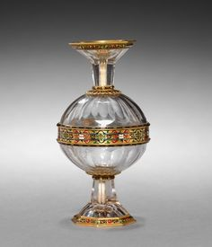 Double Cup, late 16th century, Italy (possibly 19th century forgery, or 16th and 19th century pastiche) rock crystal set in enameled gold