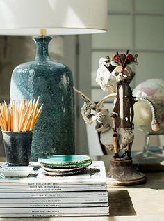 Rachel Roy home office OKL photo by Joe Schmelzer desktop accessories blue ceramic lamp magazines agate coasters