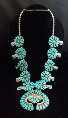 Navajo Silver & Turquoise Squash Blossom Necklace Pettipoint