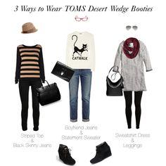 3 Ways to Wear Toms Black Suede Wedge Booties