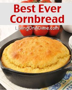 Best Ever Easy Cornbread Recipe Delicious Cornbread! is part of Corn bread Easy - This Best Ever Easy Cornbread Recipe is so delicious, sweet and moist you can eat it with nothing on it! Serve with stews, chili, soups and more! Easy Cornbread Recipe, Buttermilk Cornbread, Homemade Buttermilk, Homemade Cornbread, Cornbread Recipe With Canned Corn, Cornbread Recipe Without Baking Powder, Homemade Breads, Corn Cake Recipe Easy, Gastronomia