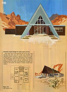 A-frame with carport - my dream house as a child, ans till is today! - My-House-My-Home The Plan, How To Plan, A Frame House Plans, A Frame Cabin, Mid-century Modern, Plans Architecture, Carports, Vintage House Plans, Mid Century House