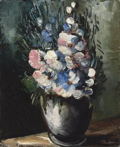 Flowers in a Grey Vase, by Maurice de Vlaminck (French, 1876-1958),