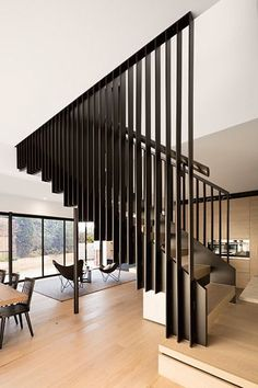 #stairs #staircase #metal Home Stairs Design, Stair Railing Design, Interior Stairs, Modern House Design, Home Interior Design, Interior Architecture, Timber Staircase, House Staircase, Staircase Remodel