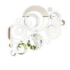 10 style diy 3d miroir horloge murale moderne decoration - Pendule murale design inox ...