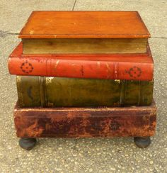 Vintage Wood Large Stack Of Books Furniture Leather Table Drawers.