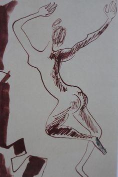 """Louis Leygue ( 1905 -1992 ) , Ink wash drawing  """" La Danseuse Nue """" ."""