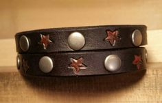 Black Leather Cuff Bracelet  Distressed Red Stars by LeatherVision