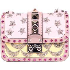 Valentino Garavani Leather Lock bag with embroidery (£2,825) ❤ liked on Polyvore featuring bags, handbags, valentino, bolsas, borse, purses, multicolor, beaded purse, pink leather handbags and hand bags