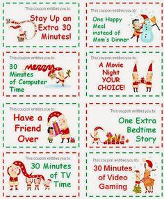 Christmas Stocking Stuffer Coupons for Kids printable