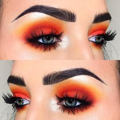 Matte bright orange Eyeshadow look! Gorgeous look for summer