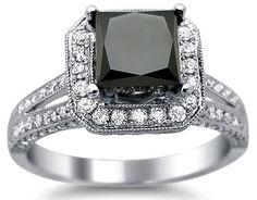 2.85ct Black Princess Cut Diamond Engagement Ring 18k White Gold