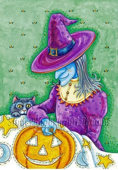 A Witch Sewing Halloween on a Quilt ~ Counted Cross Stitch Pattern #StoneyKnobFarmHeirlooms