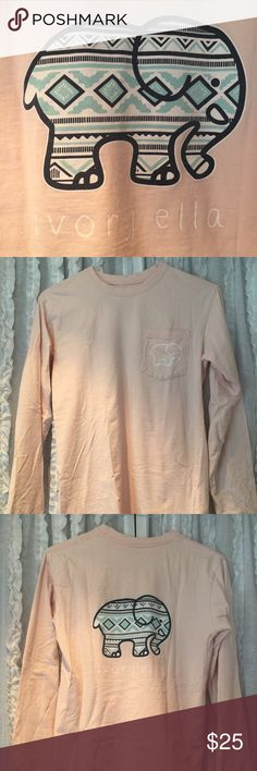 Ivory Ella long sleeve peach Ivory Ella small long sleeve peach tone t shirt. The image on the back has an Aztec design. The shirt is in good condition. Sleeves and collar show normal wear. I took pictures so you can enlarge and see. Smoke free home. Feel free to ask for more pictures. Ivory Ella Tops Tees - Long Sleeve