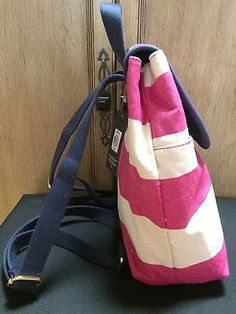 NWT-Tommy-Hilfiger-Pink-Ivory-Canvas-Stripe-Backpack-Bag-Purse-Tote