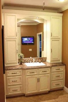 Beautiful bathroom vanity with linen cabinet about house remodel plan with winsome bathroom vanities with linen Bathroom Linen Cabinet, Linen Cabinets, Bathroom Vanity Cabinets, Brown Cabinets, Kitchen Cabinets, Diy Bathroom Remodel, Bathroom Renovations, Bathroom Interior, Interior Paint