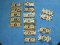 16 Note Lot -  $1 Blue Seal - 1976 Note $2 Red Seal - 1935 - 1957 - MULTI YEARS