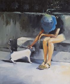 This contemporary artwork features a woman wearing a blue hat petting a cat with bright highlights and a contrasting dark background. Lady with Blue Hat Wall Art by Tony Belobrajdic from Great BIG Canvas. Wall Art Prints, Canvas Prints, Big Canvas, Painting Workshop, Genoa, Contemporary Artwork, Blue Art, Wildlife Art, Dark Backgrounds