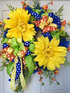 Spring and Summer Mesh Wreath by WilliamsFloral on Etsy https://www.etsy.com/listing/227825160/spring-and-summer-mesh-wreath