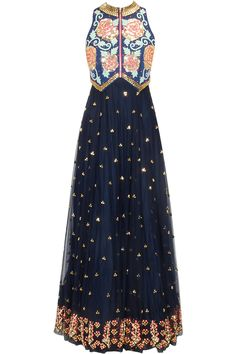 Navy blue beads embroidered flared anarkali available only at Pernia's Pop Up Shop.