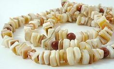 Long Natural Mother of Pearl Necklace with Brown Goldstone and Peach Swarovski Crystals by BlueIrisJewelry