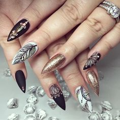 Matte Black, Matte White and Gold Glitter Stiletto Nails with Dreamcatcher and Feather Nail Art.