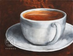 steaming hot COFFEE in a cup - original acrylic painting on canvas from artsyants on Etsy. Coffee Cup Art, Hot Coffee, Coffee Break, Coffee Time, Acrylic Painting Canvas, Canvas Art, Coffee Painting Canvas, Canvas Size, Coffee Drawing