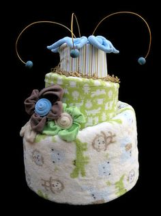 Baby Boy Topsy Turvy Diaper Cake: Ready to Ship Baby Shower Centerpiece. $110.00, via Etsy.