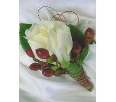 White Rose with Red Hypericum Boutonniere in Farmington Hills MI, Happiness is... The Little Flower Shop