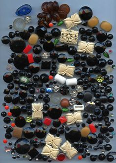 SOLD: Large lot of button trim plus various beads