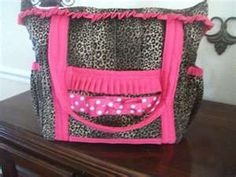 ( Custom Leopard Print Diaper Bag with Pink Trim and Accents ) Cheetah Nursery, Charlie Rose, Sewing Projects, Sewing Ideas, Girls Bedroom, Diaper Bag, Lunch Box, Purses, My Style