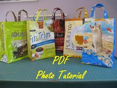 Recycle Old Bags Into Fabulous Reusable Shopping Bags Go Green! This pattern is available for instant Feed Sack Bags, Feed Bag Tote, Diy Tote Bag, Tote Bags, Easy Plastic Bottle Crafts, Plastic Bottles, Paper Grocery Bags, Upcycled Crafts, Repurposed