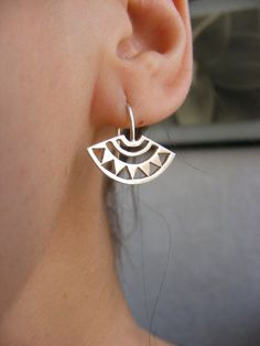 Silver Handmade Azteca Earrings por AfaJewelry en Etsy
