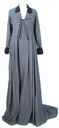 """Navy wool empire trained equestrian riding gown and jacket. 1810 style. Reproduction from Jane Austen's Mansfield Park 1999 film version.   Labelled: """"Andrea's Vest and Jumper.""""  $1,295."""