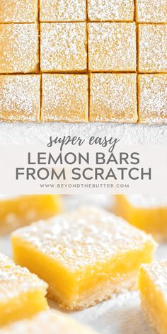 These Super Easy Lemon Bars combine a tart and tangy lemon curd filling with a buttery, shortbread crust. Made in an 8 x 8 baking pan, they make the perfect citrus-y treat to enjoy with family, friends, or coworkers! | BeyondtheButter.com | #lemons #lemonbars #beyondthebutter #lemondesserts